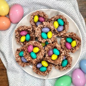 plate of rice krispie treat birds nests