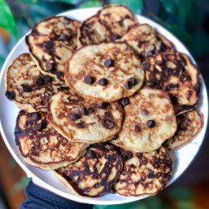 plate of healthier banana pancakes