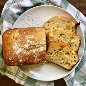 plate of french yogurt cake with apples