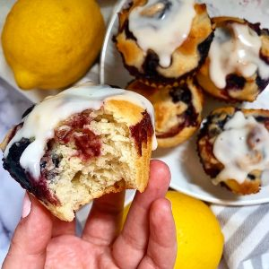 close up of bitten muffin