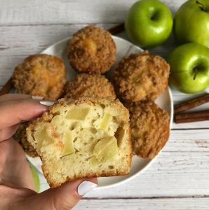 close up of cut apple muffin
