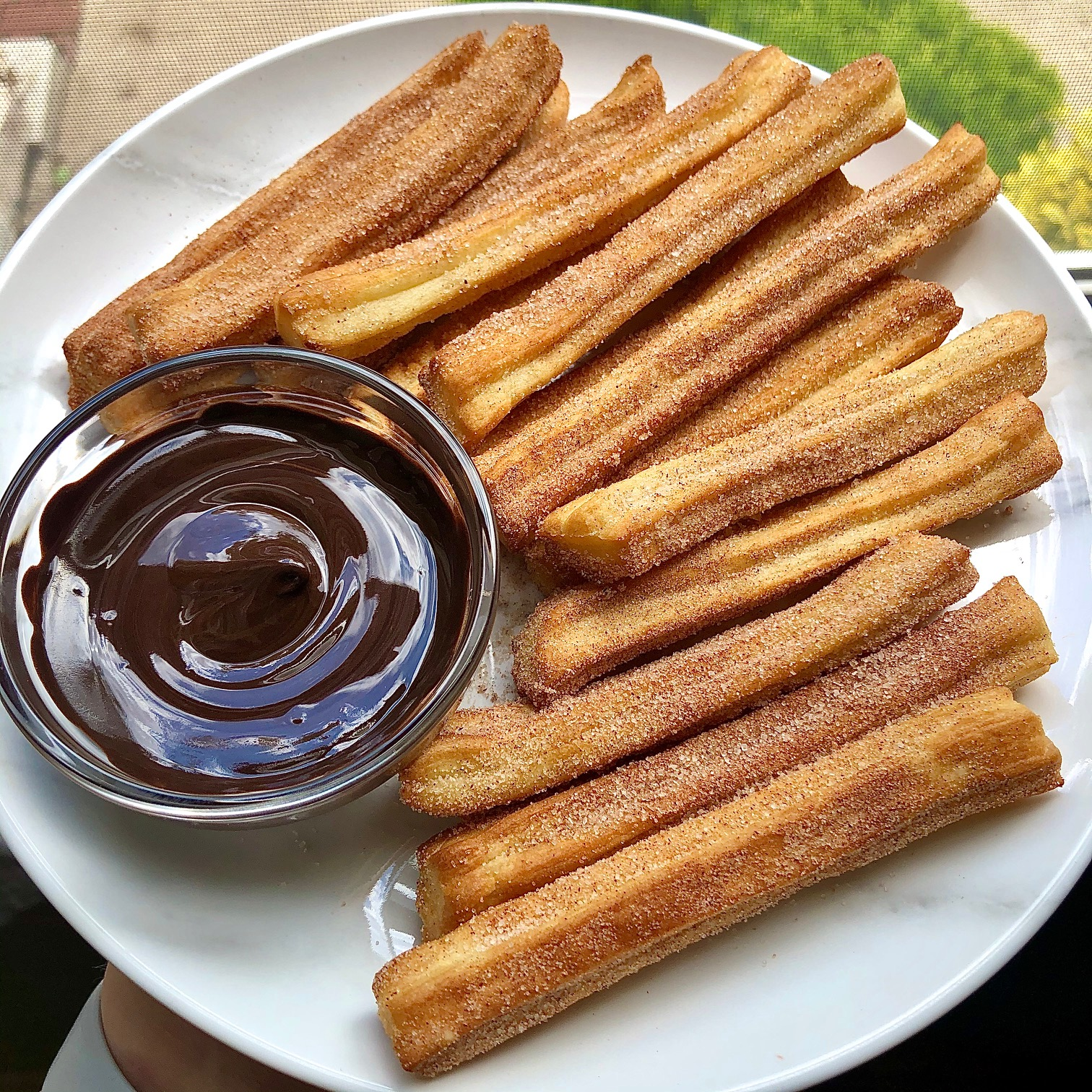 plate of air fryer churros