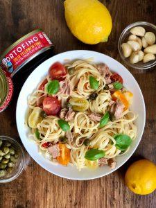 plate of lemon caper tuna pasta