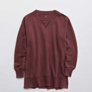 An Aerie Good Vibes Oversized Sweatshirt in royal berry.