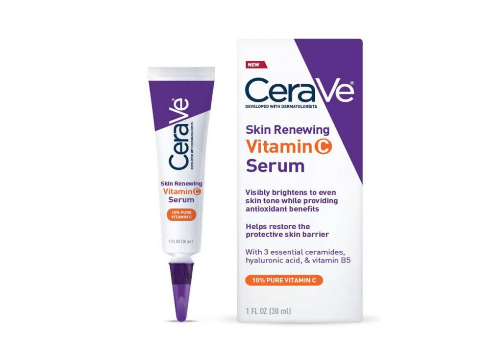 A tube of CeraVe Skin Renewing Vitamin C Face Serum With Hyaluronic Acid.