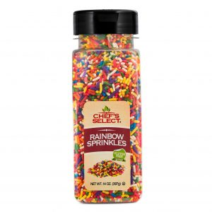 A jar of Chefs Select Decorative Rainbow Sprinkles.