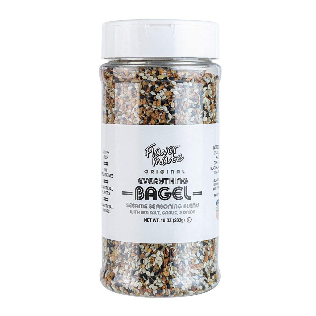 A jar of Flavor Mate Original Everything Bagel Seasoning.