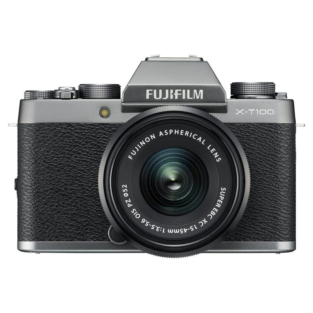 A Fujifilm X-T100 Mirrorless Digital Camera.