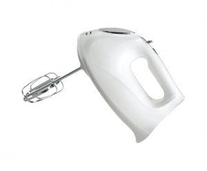 A white Hamilton Beach 6-Speed Hand Mixer with Case.