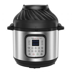 A stainless steel Instant Pot 8qt Duo Crisp Combo Electric Pressure Cooker Air Fryer.