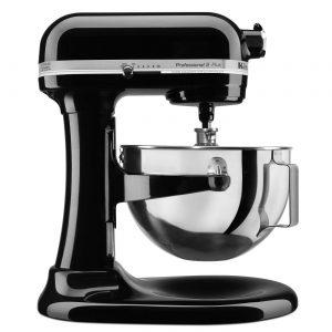 A black KitchenAid Professional 5qt Stand Mixer.