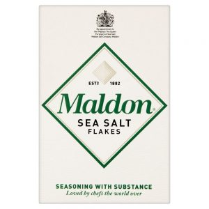 A box of Maldon Sea Salt Flakes.