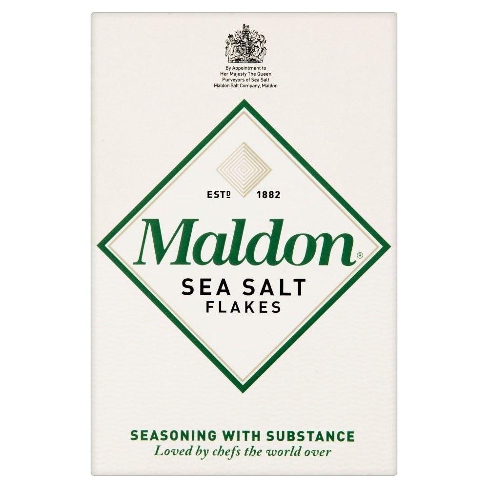 A box of Maldon Sea Salt Flakes.
