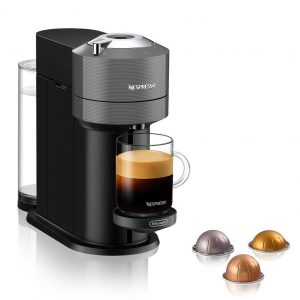 A Nespresso Vertuo Next Coffee and Espresso Machine in gray
