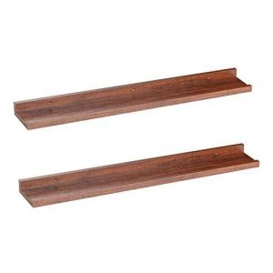 A set of espresso-teak O&K Furniture Floating Wall Shelves.