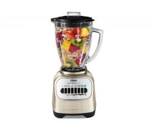 An Oster Classic Series Blender with Travel Smoothie Cup.