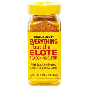 A jar of Trader Joe's Everything But The Elote Seasoning Blend,