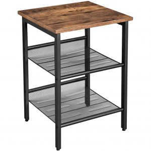 A Vasagle End Table in wood and black metal.