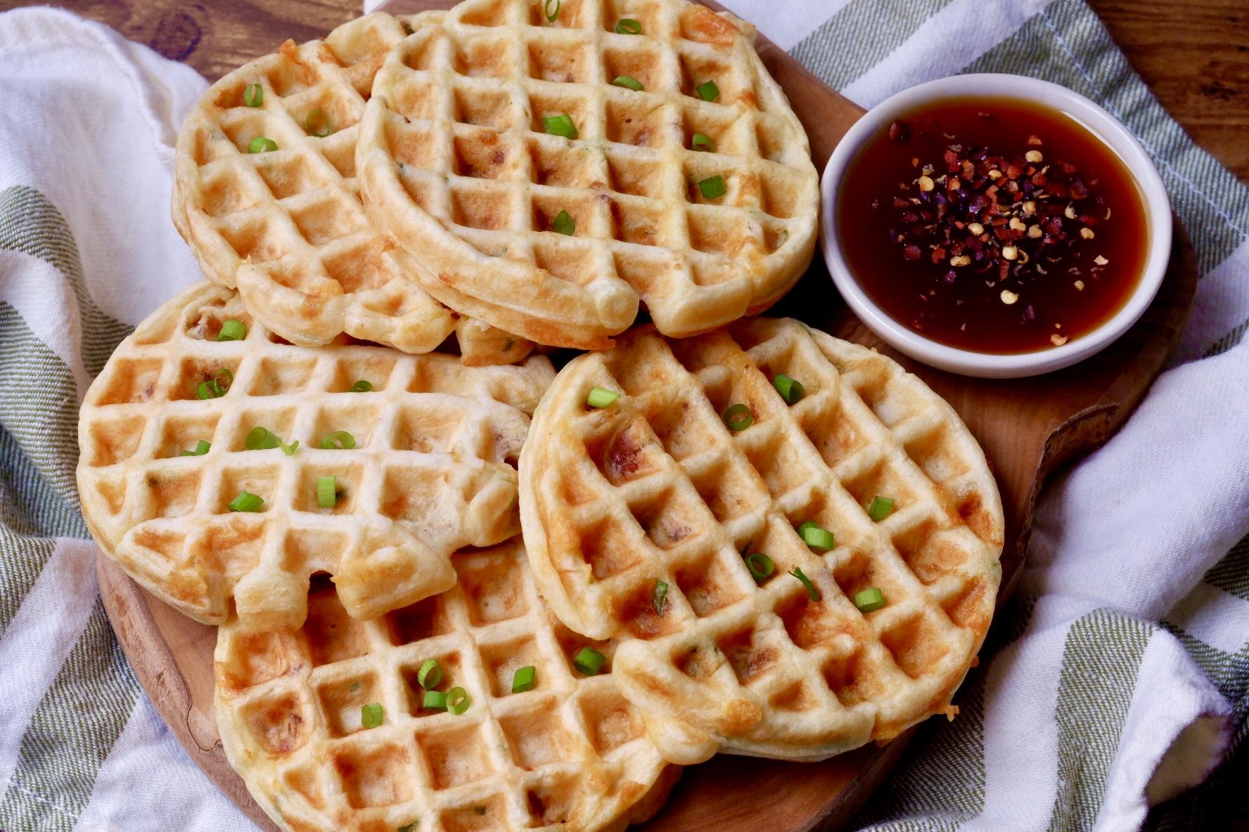 Bacon Cheddar Scallion Waffles