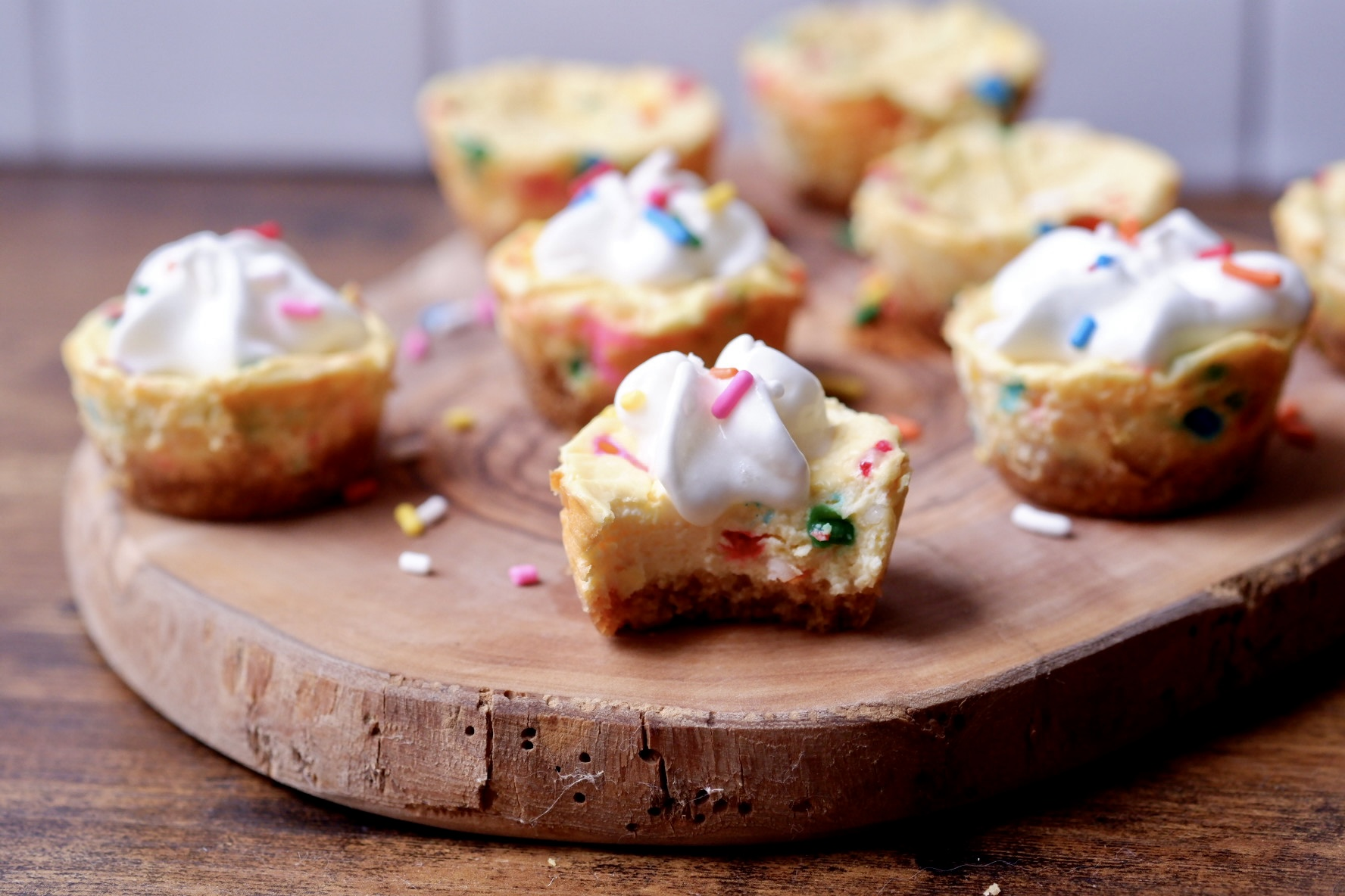 light confetti cheesecake bites