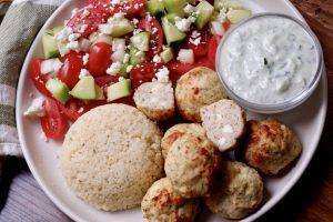 Greek Chicken Meatballs with Tzatziki