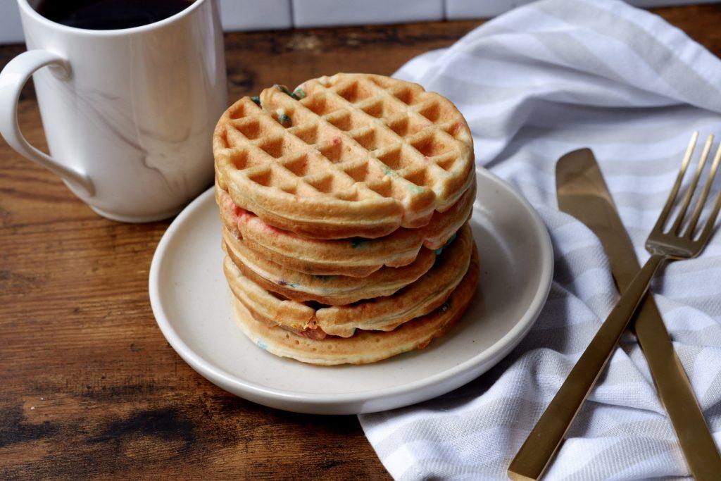Healthier Birthday Cake Waffles