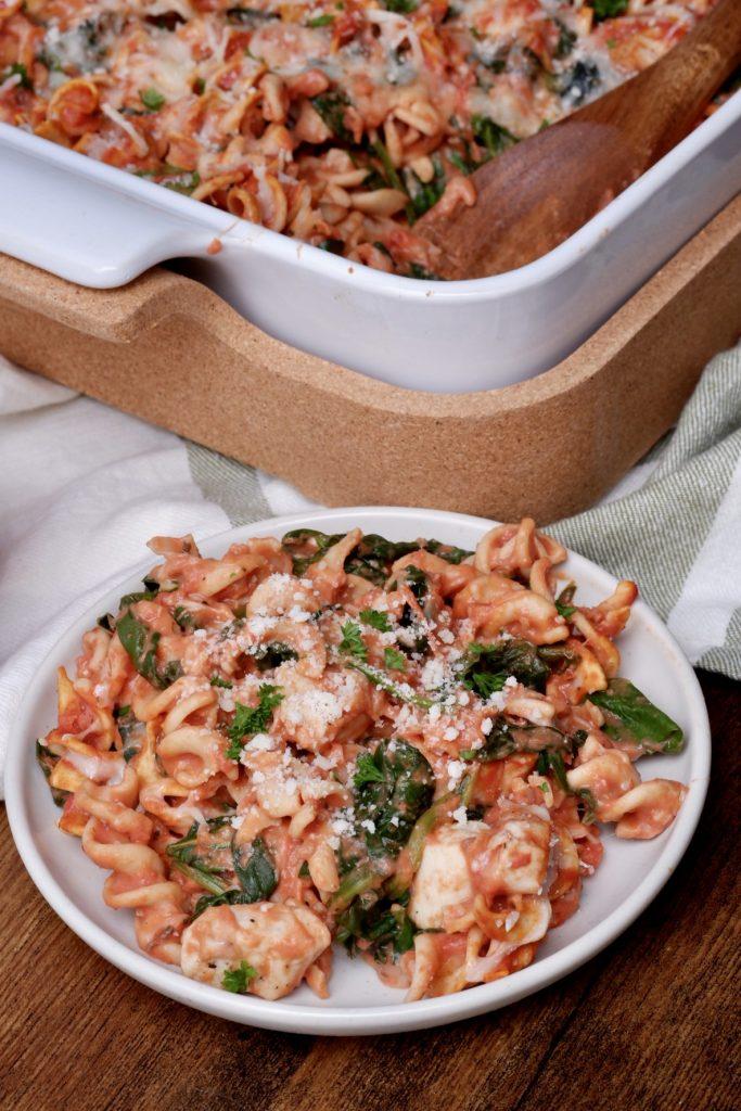 healthy cheesy chicken pasta bake