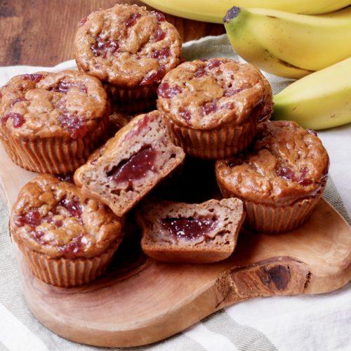 pb & j banana muffins