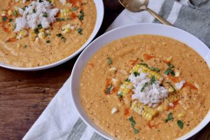 Roasted Corn and Tomato Soup with Crab
